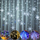 Xmas LED Snowflake Fairy String Curtain Window Lights Outdoor Waterproof Party