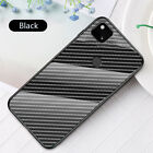 For Google Pixel 5 4A 5G 3A Luxury Carbon Fiber Tempered Glass Hybrid Case Cover