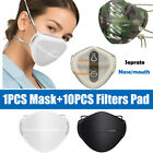 Reusable Washable Separate Nose Mouth Mask 10x Carbon Filters Purify Protection