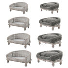 WICKER DOG CAT PET BED RAISED SOFA CHAIR BASKET BED CUSHION REMOVABLE WASHABLE