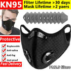Reusable Mask With Breathing Valve Carbon Filters Pad Anti Pollution Mouth Cover