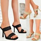 Womens Quilted Padded High Heels Designer Sandals Cross Party Fashion Size New