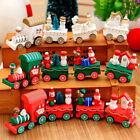 Christmas Wooden Train Ornament Santa Claus Bear Child Toy Home Table Decor Gift