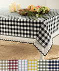 Country Farmhouse Plaid Spill Proof Fabric Tablecloths - Assorted Colors & Sizes