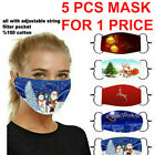 5PC Christmas Print Face Mask,Breathable Reusable Washable Mouth Protection