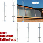 UK 110cm Stainless Steel Balustrade Railing Post High Grade Glass Clamps Fencing