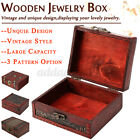 Vintage Wooden Storage Box With Lock Treasure Chest Jewelery Case Organiser