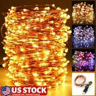 50-200LEDs USB Plug In Micro String Lights Copper Wire Party Static Fairy Light