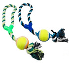 Dog Pet Puppy Rope Toy With Tennis Ball - Colours May Vary