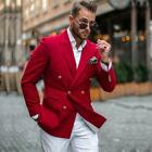 Red Double Breasted Wedding Tuxedos Slim Fit Peaked Lapel Prom Suit Mens Blazer