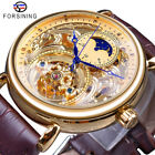 FORSINING Luxury Mens Gold Skeleton Carved Moon Phase Automatic Mechanical Watch