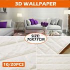 10/20pcs 3d Wall Paper Panel Brick Decorative Marble Sticker Adhesive Decal Home