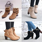 UK+Womens+Ladies+Chunky+Block+High+Heel+Shoes+Platform+Chelsea+Ankle+Boots+Shoes