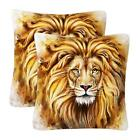 Lion Face Print Cushion Covers Throw Pillow Case Sofa Home Bed Decor Set Of 2