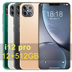 I12pro 12+512g Android Smart Phone 6.6'' Face Fingerprint Unlock  Cellphone