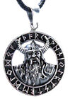 Viking pendant 925 Sterling Silver Warrior Helmet Horns Runes Futhark No. 399