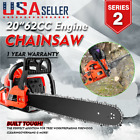 "20"" 58/62CC Powerful Gas Chainsaw 2 Stroke Power Handed Petrol Chain Saw Yard"