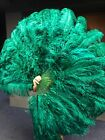 """Forest green XL 2 layers Ostrich Feather Fan 34"""" x 60"""" with leather Travel Bag"""