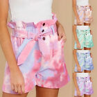 Spring and summer ladies tie-dye color casual pocket shorts Trendy