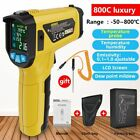 Digital Infrared Thermometer LCD Screen Humidity Pyrometer IR Laser Temperature