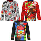 55 Long Sleeve Shirt Pullover Boys Angry Birds Grey Red Black 104 116 128 140