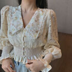 Elegant Women Ruffle Lace Floral Blouse Shirts Crop Puff Long Sleeve V Neck Tops