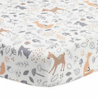 Bedtime Originals Deer Park White/Gray Woodland Animals Baby Fitted Crib Sheet