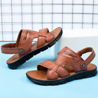 Men Summer Soft Flats Leather Flip Flops Sandals Casual Outdoor Slippers Shoes