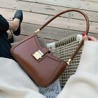 Solid Color PU Leather Shoulder Bags Women Lock Handbags Small Travel Hand Bag