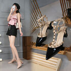 Chunky Heel Studded Pointy T-strap Rivet Slingbacks Plus width Heels Women Shoes