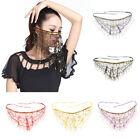 Lady Belly Dance Beaded Sequins Face Veil Halloween Costume Accessory