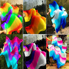 Wow New Style 1 Pair left  right 100 Silk Belly Dance Fan Veil 1.5m 1.8m Long