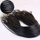 20pcs Black Braided Leather Cord Rope 2mm Necklace Chain With Lobster Claw Clasp