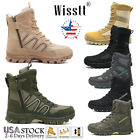 Men's Military Tactical Hiking Boots Side Zip Walking Army Jungle Desert Shoes