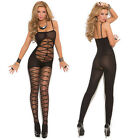 Sexy Opaque Criss Cross Bodystocking with Open Crotch