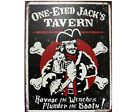 "PIRATE JOLLY ROGER  SIGN TIN ONE-EYED JACK  12 "" X 16"""