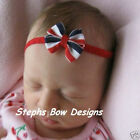 RED WHITE NAVY BLUE JULY 4th NEWBORN HAIR BOW HEADBAND