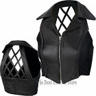 Black Solid Leather Womens Vest with Open Cross Hatch Back Elastic Sides Ladies