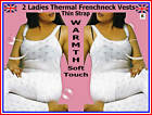2 LADIES THERMAL FRENCHNECK THIN STRAP VESTS WHITE WARM
