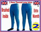2 pieces Mens Thermal Brushed Long Johns Bottoms Underwear BLUE Warm