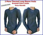 2 pieces Mens Thermal Brushed Warm Long Sleeves VESTS CHARCOAL