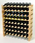 Modular Wine Rack 32-96 Bottles Solid Beachwood 8 Bottles Across up to 12 Rows
