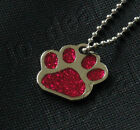 Glitter Paw Bling Pet ID Tag Custom Diamond Engraved Dog Cat Personalized