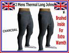 2 pieces Mens Thermal Brushed Long Johns Bottoms Underwear CHARCOAL Warm