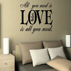 LARGE BEDROOM QUOTE THE BEATLES ALL NEED LOVE WALL STICKER GRAPHIC DECAL VINYL
