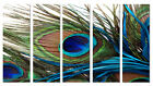 Peacock Feather Modern Decor Canvas Print Set Of 5 Framed & READY TO HANG