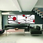 FRAMED Red Dots  Modern Decor Wall Clock On Canvas Prints 3 Panels Set