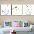 FRAMED Gold Fish Jumping Modern Decor Canvas Prints Set Of 3 With Wall Clock