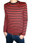 Mens Stripey t-shirt tee red black nautical indie mod Top striped preppy jumper