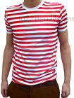 MENS stripey tee t-shirt red white indie mod psychedelic NEW Striped nautical